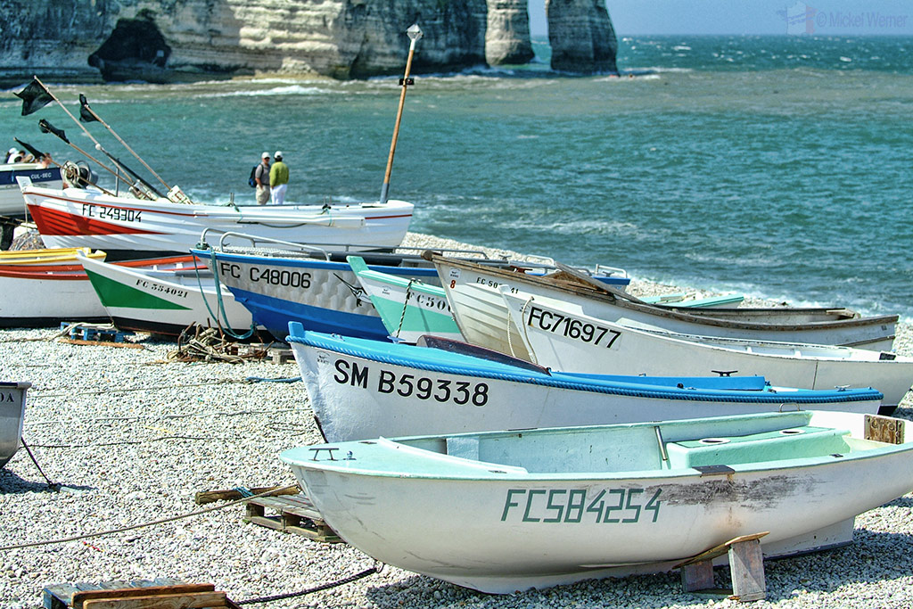 Fishing boats on the beach of Etretat