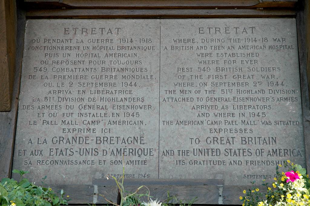 Etretat's WWII Memorial plaque