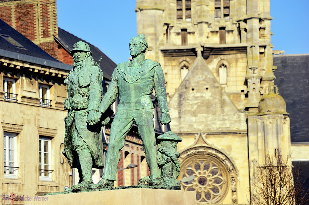 WWII Monument in front of the St. Etienne church of Fecamp