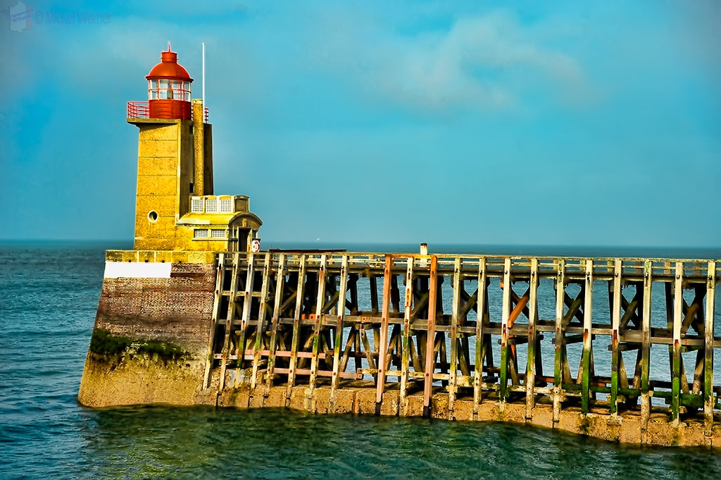 One of two lighthouses at the Fecamp harbour entrance