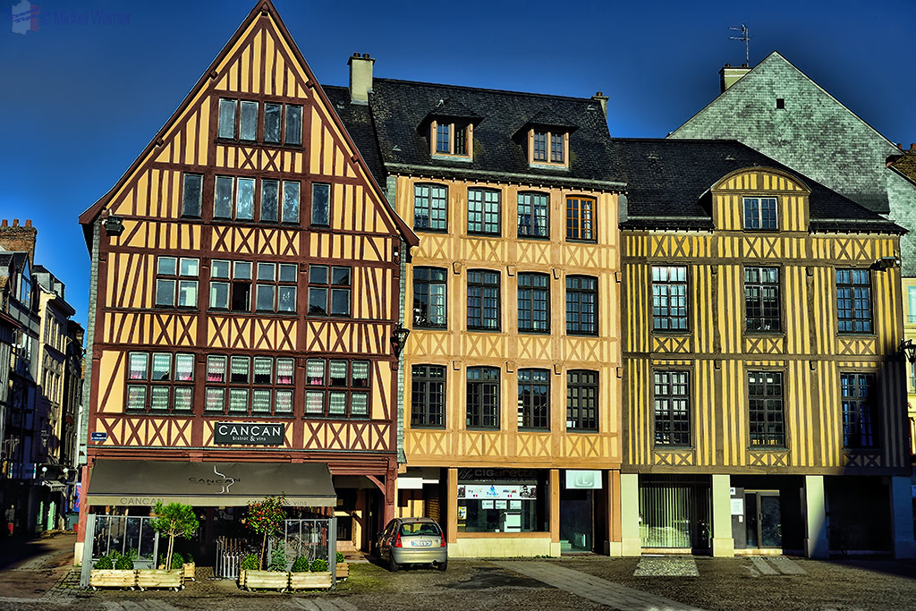 Old houses and shops in Rouen