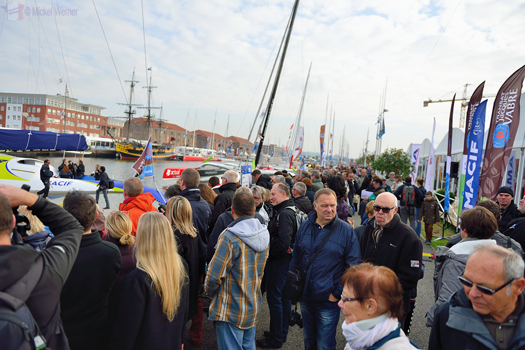 Crowds at the Transat Jacques Vabre race at the Le Havre docks