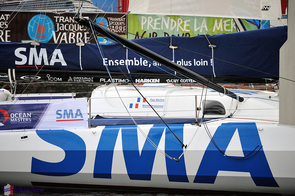 Closeup of one of the yachts of the Transat Jacques Vabre at the Le Havre docks