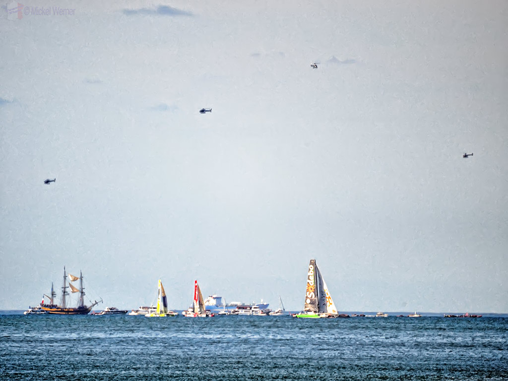 TV helicopters hovering at the start of the Transat Jacques Vabre yacht race