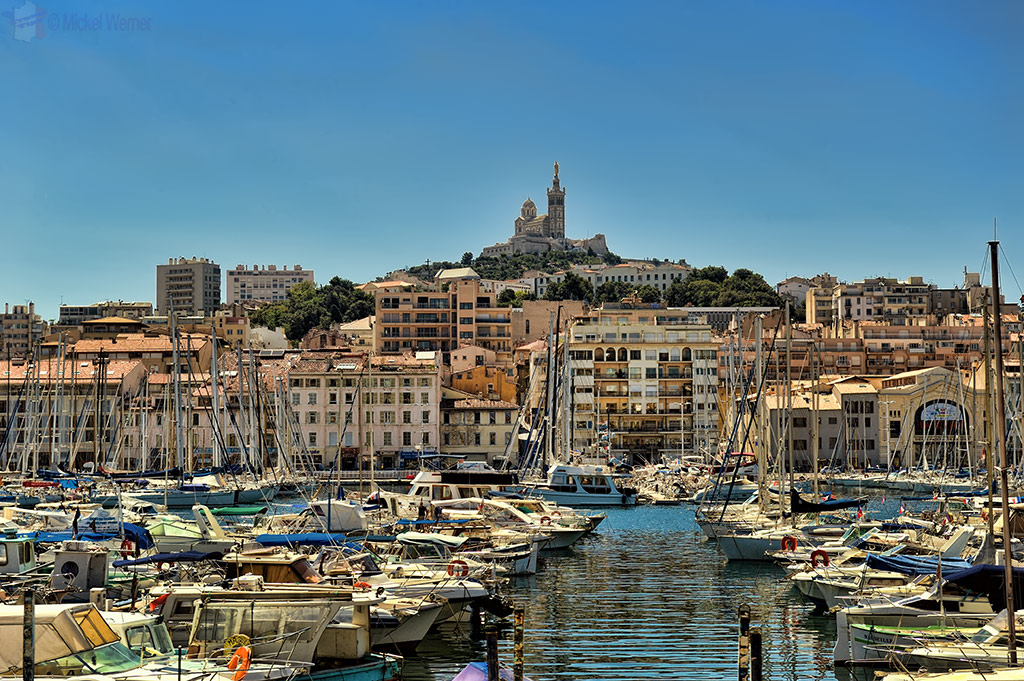 Notre-Dame de la Garde church overlooking the old harbour of Marseilles