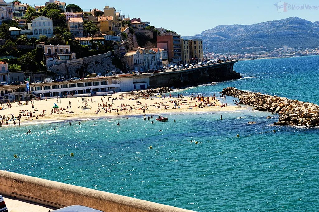 One of the beaches along the Corniche Kennedy Boulevard of Marseilles