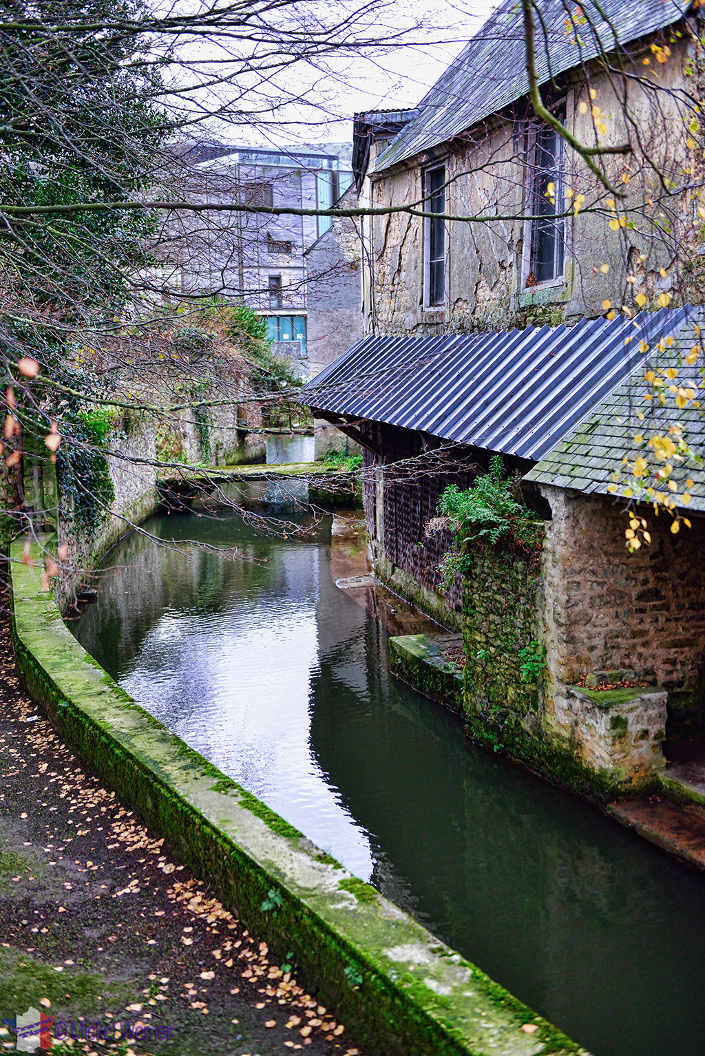 L'Aure river in Bayeux and its buildings