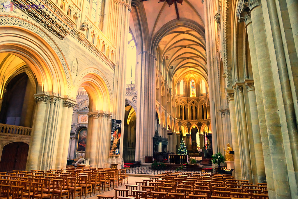 Inside the Notre-Dame cathedral of Bayeux