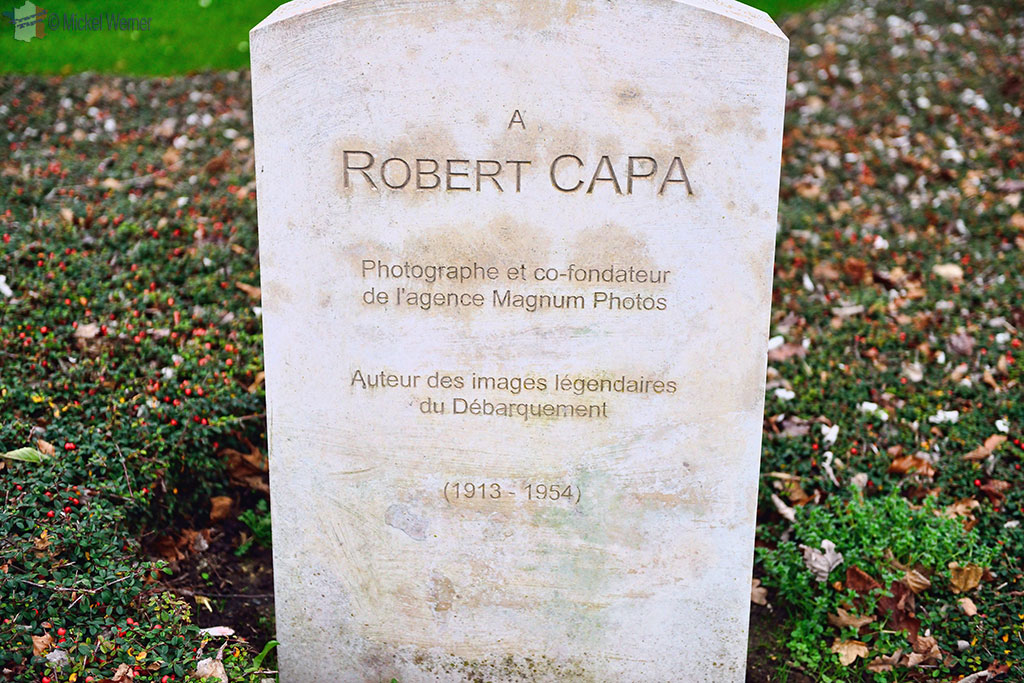 "Robert Capa ""tombstone"" at the Reporter Memorial of Bayeux"