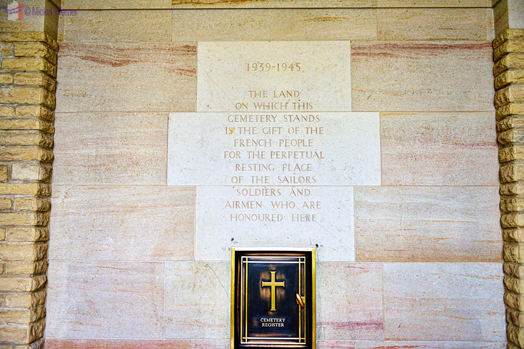 Inside the mausoleum at the British War Cemetery of Bayeux