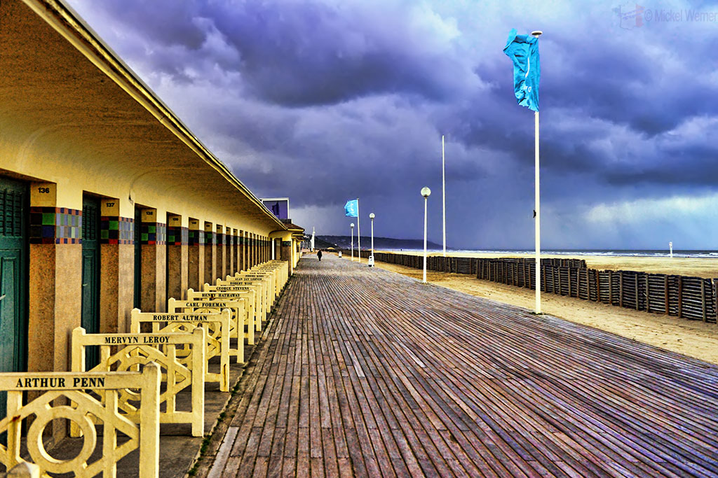 Deauville's beaches and promenade with movie star named changing cabins