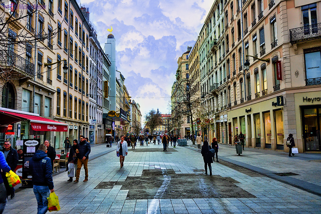 Rue de la Republique pedestrian shopping street of Lyon