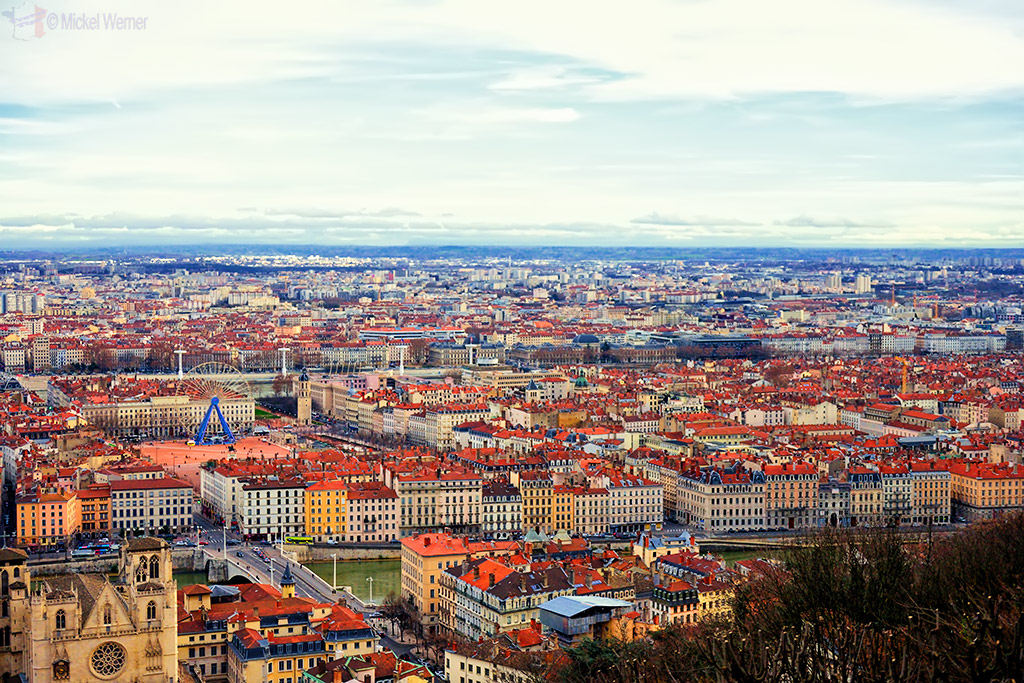 La Place Bellecour square of Lyon as seen from the top of the adjacent hill