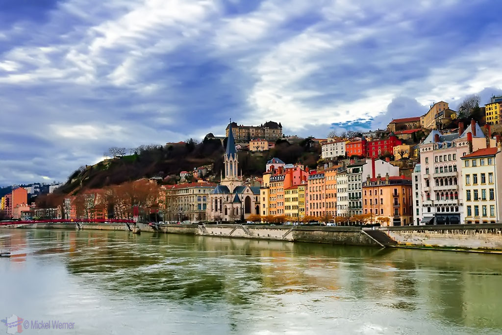 The old city of Lyon as seen from the Bonaparte bridge
