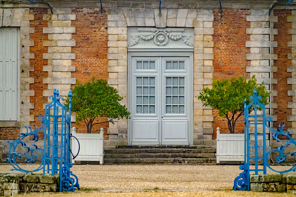 Main door of the castle of Galleville in Normandy