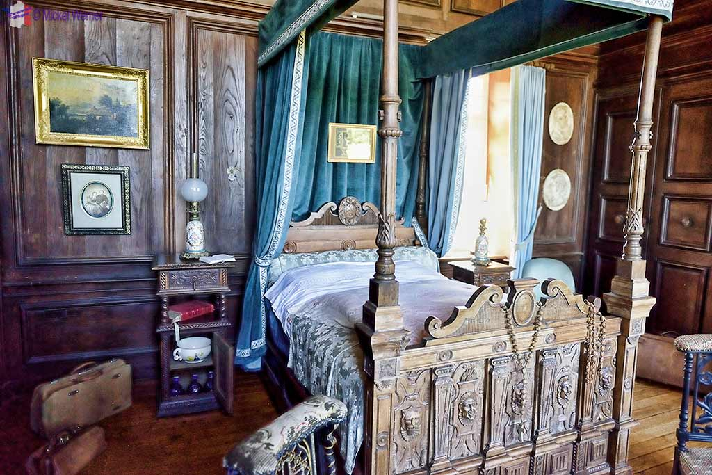 A bedroom, inside the Castle Kergrist at Ploubezre, Brittany