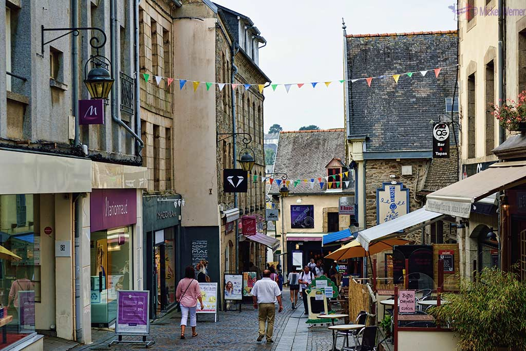 Shopping street in the city centre of Lannion, Brittany
