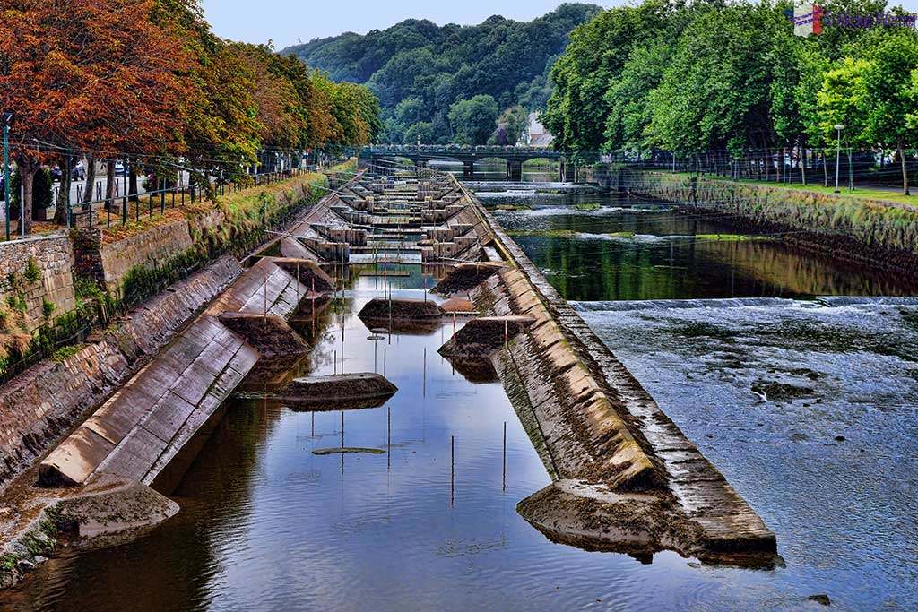 Leguer river and its kayak obstacle infrastructure in Lannion, Brittany