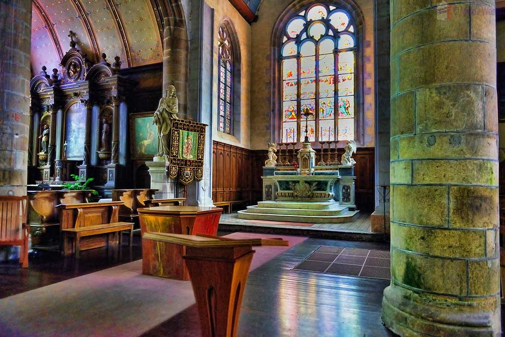 Inside the Saint-Jean-du-Baly church of Lannion, Brittany