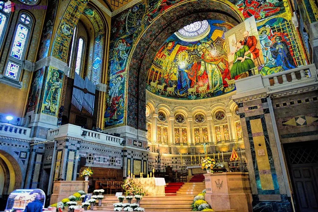 The main alter of the Basilica of St. Therese in Lisieux, Normandy