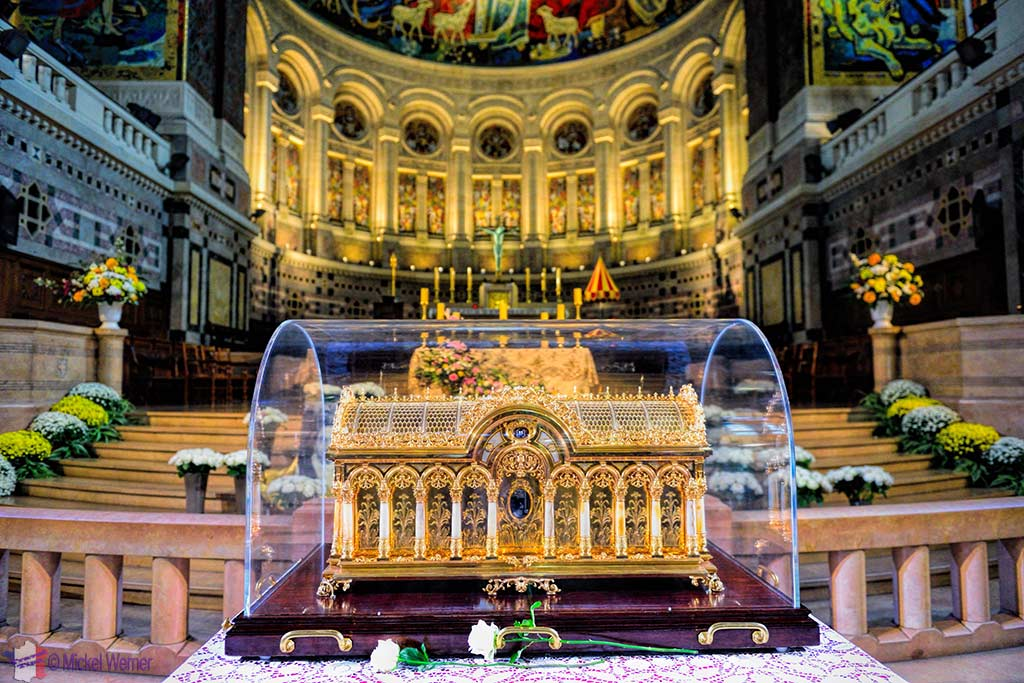 Relics of St Therese in front of the main alter of the Basilica of St. Therese in Lisieux, Normandy