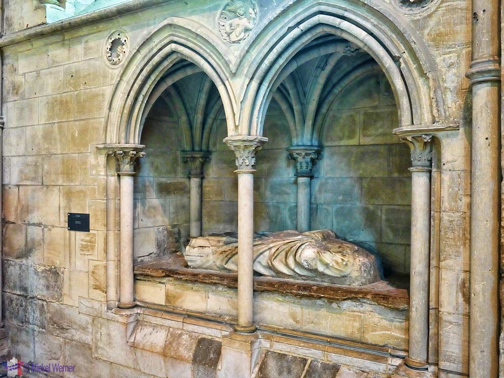 Bishop Jean de Samois lies in a prominent place inside the cathedral of Lisieux