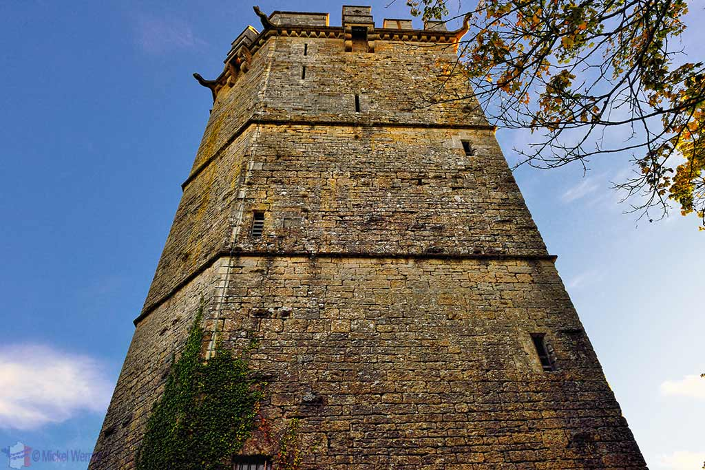 Up close to the Aubespin tower of the Montbard Castle inside the Buffon Park in Burgundy