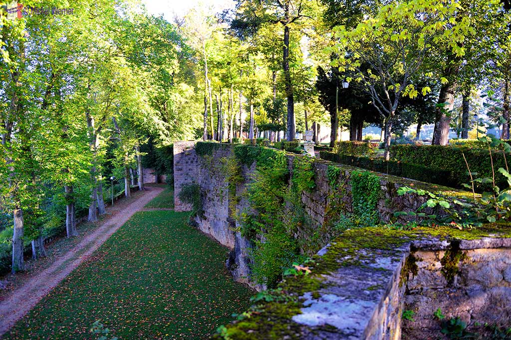 The fortress walls of the Montbard Castle inside the Buffon Park in Burgundy