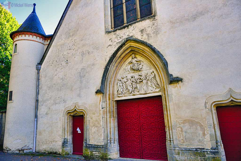 Entrance to the Saint-Urse church of the Montbard castle in Burgundy