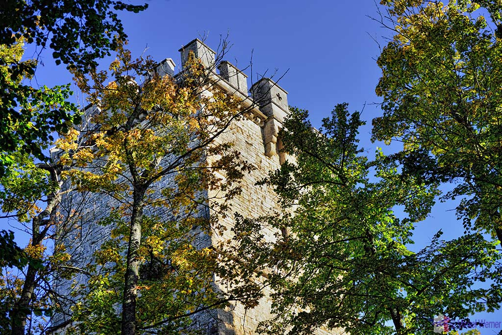 Montbard Castle tower inside the Buffon Park in Burgundy