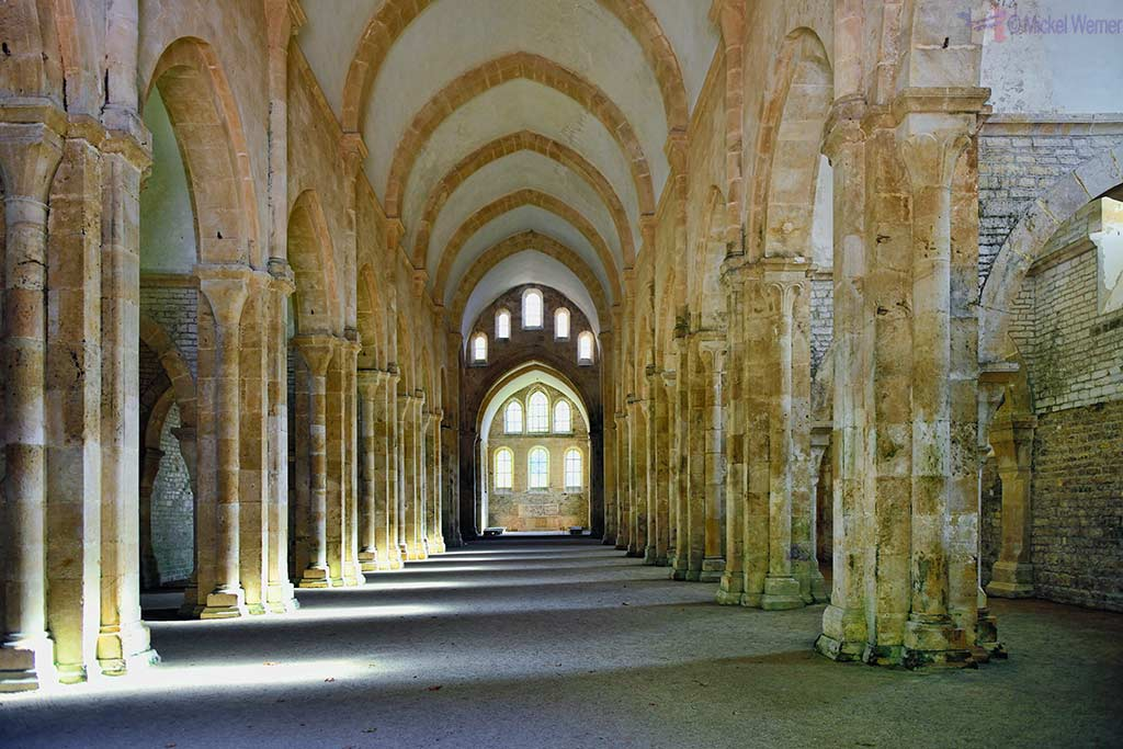 Inside the church of the Fontenay Abbey in Montbard, Burgundy