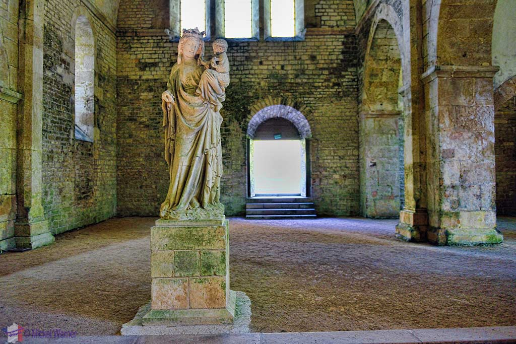 Our Lady of Fontenay Statue inside the church of the Fontenay Abbey in Montbard, Burgundy