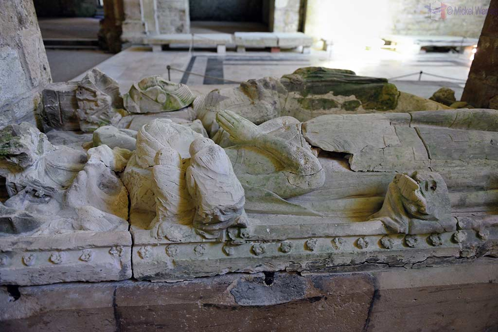 Knight Mello d'Epoisses and his wife's tomb inside the church of the Fontenay Abbey in Montbard, Burgundy