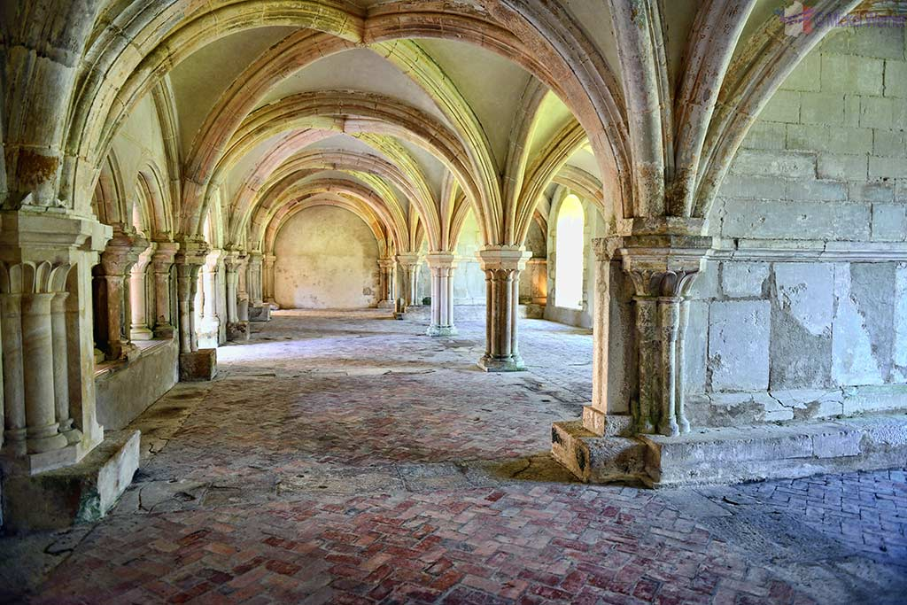 Warming room inside the Fontenay Abbey in Montbard, Burgundy