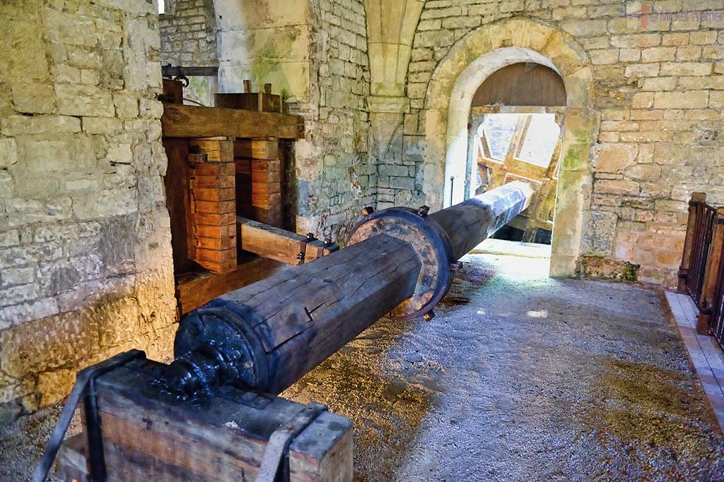 Part of the hydraulic hammer used by the forge of the Fontenay Abbey in Montbard, Burgundy