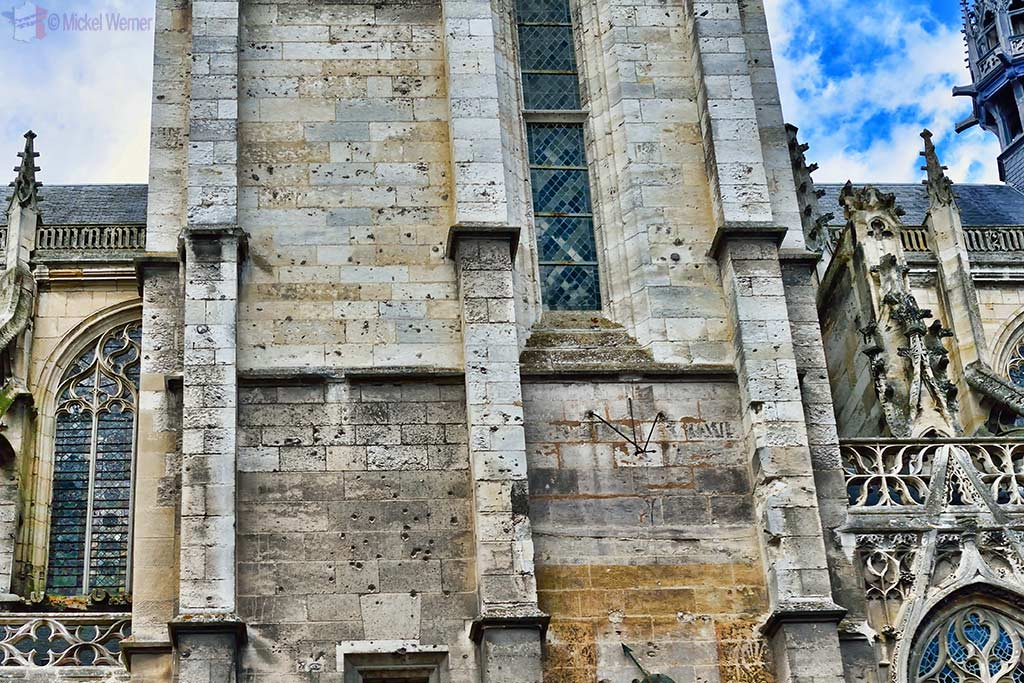 Shot up church in Caudebec-en-Caux, Normandy