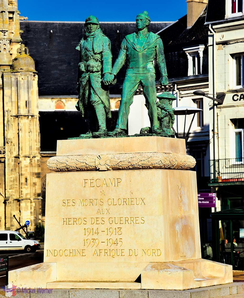 Wars monument in central square of Fecamp, Normandy
