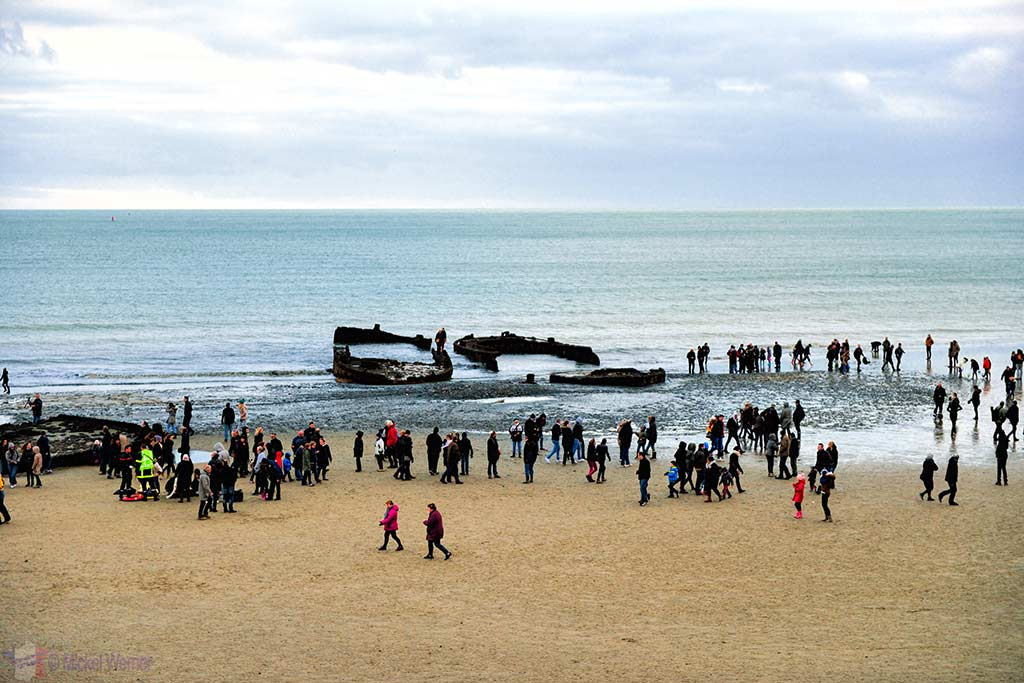 Sunken WWII ships in front of the Le Havre harbour