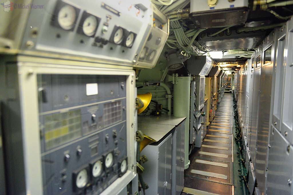 Hallway in the Redoutable, nuclear submarine of the French navy at the Cite de la Mer in Cherbourg
