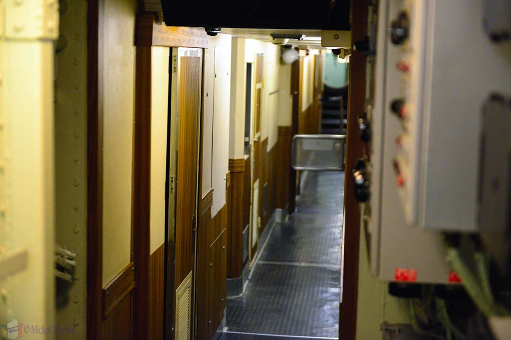 Sleeping room hallway of the Redoutable, nuclear submarine of the French navy at the Cite de la Mer in Cherbourg