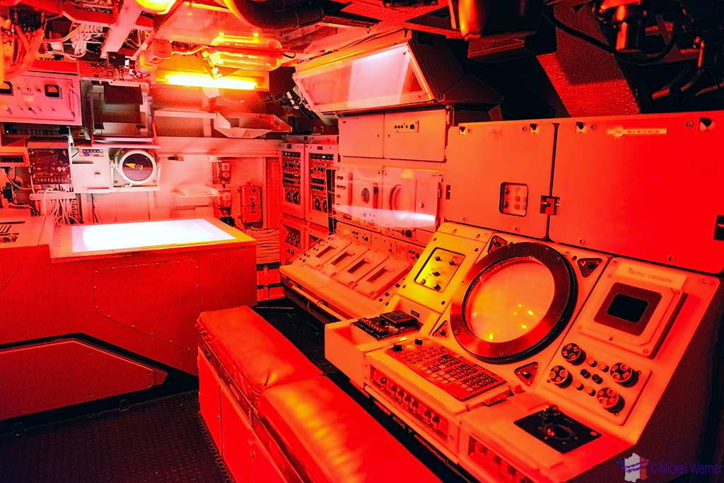 Combat station in the Redoutable, nuclear submarine of the French navy at the Cite de la Mer in Cherbourg