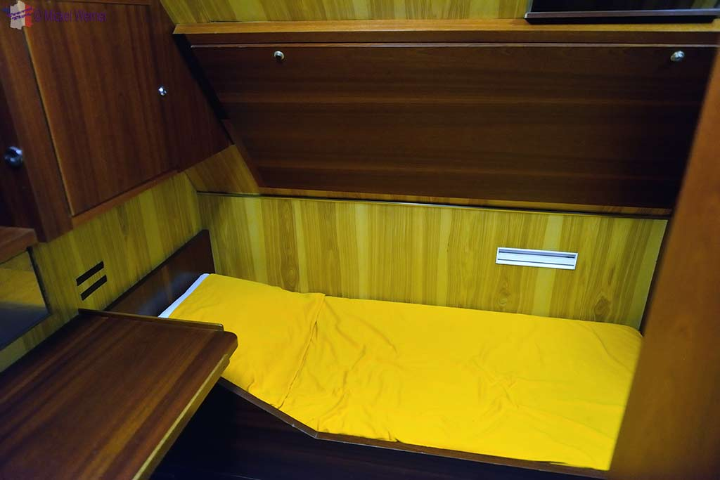 Captain's quarters and bed in the Redoutable, nuclear submarine of the French navy at the Cite de la Mer in Cherbourg