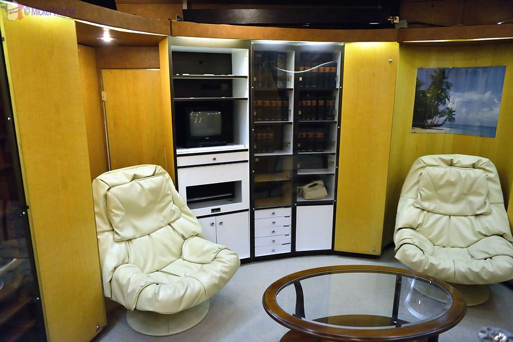 """Officers """"leisure"""" room in the Redoutable, nuclear submarine of the French navy at the Cite de la Mer in Cherbourg"""