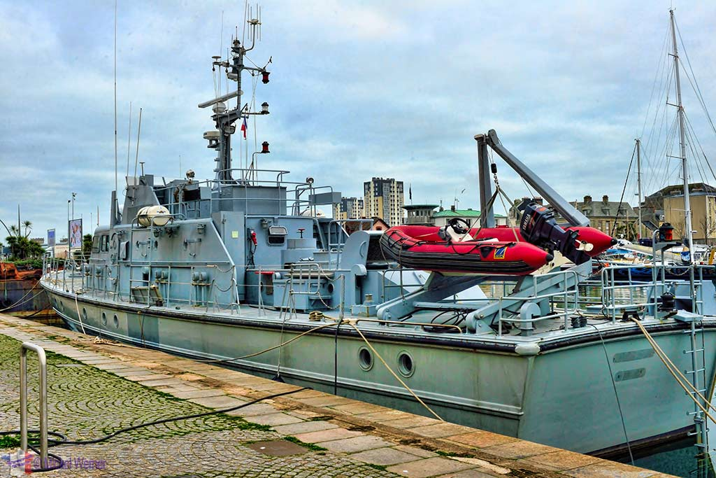 Former French Navy warship in Cherbourg