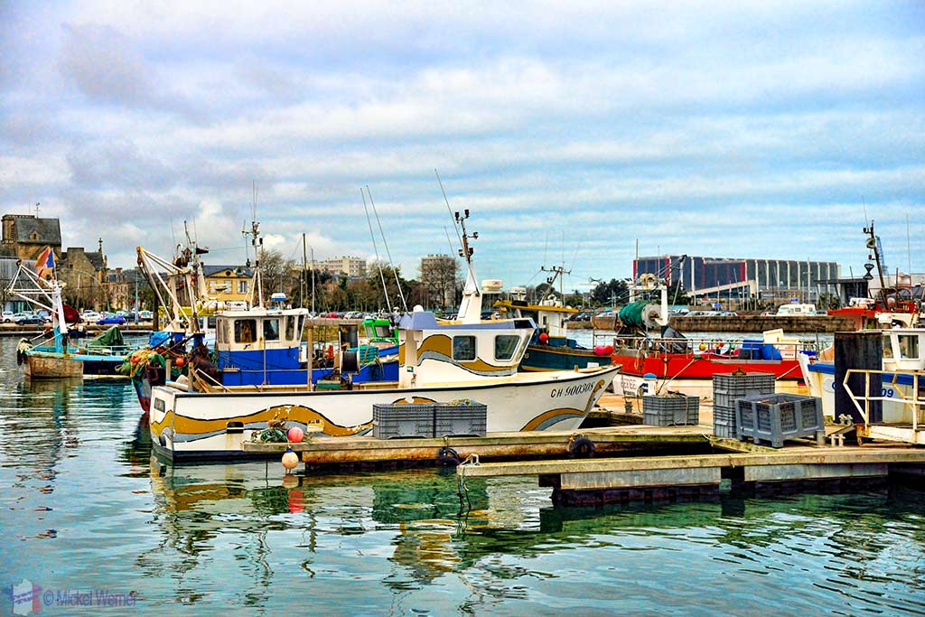 Coastal fishing boats harbour in Cherbourg