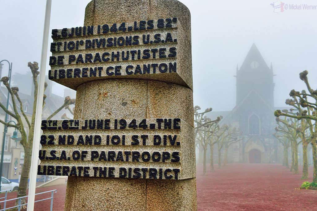WWII Monument at Sainte-Mere-Eglise dedicated to the 82 and 101 Airborne units