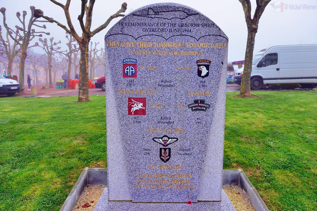 WWII Monument at Sainte-Mere-Eglise dedicated to all fighting units that liberated the town