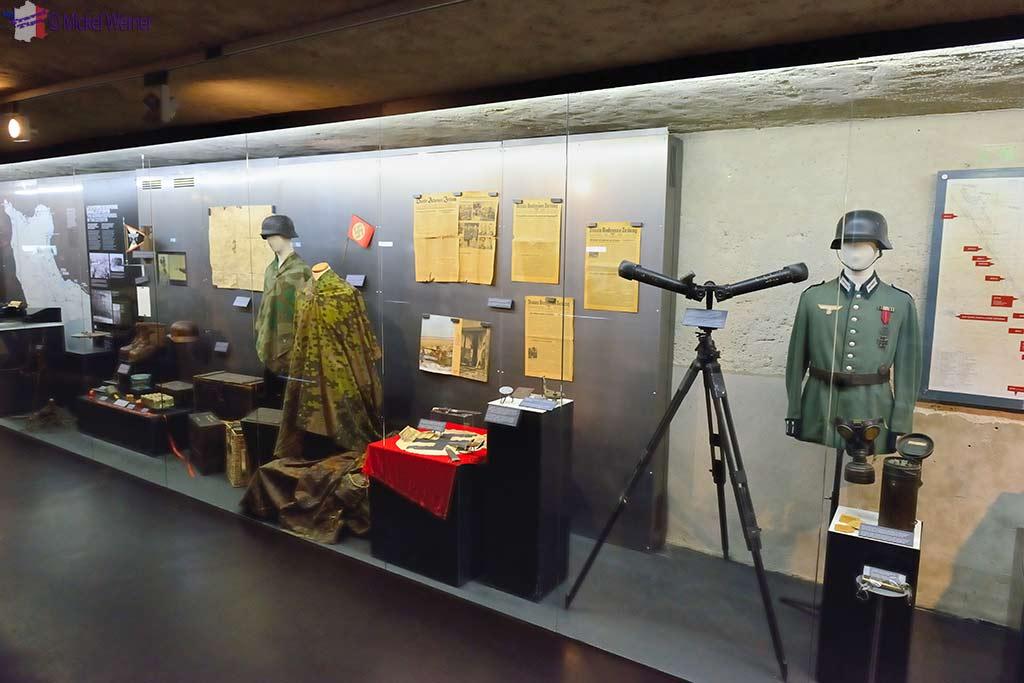 WWII items display at the Utah Beach Landing museum