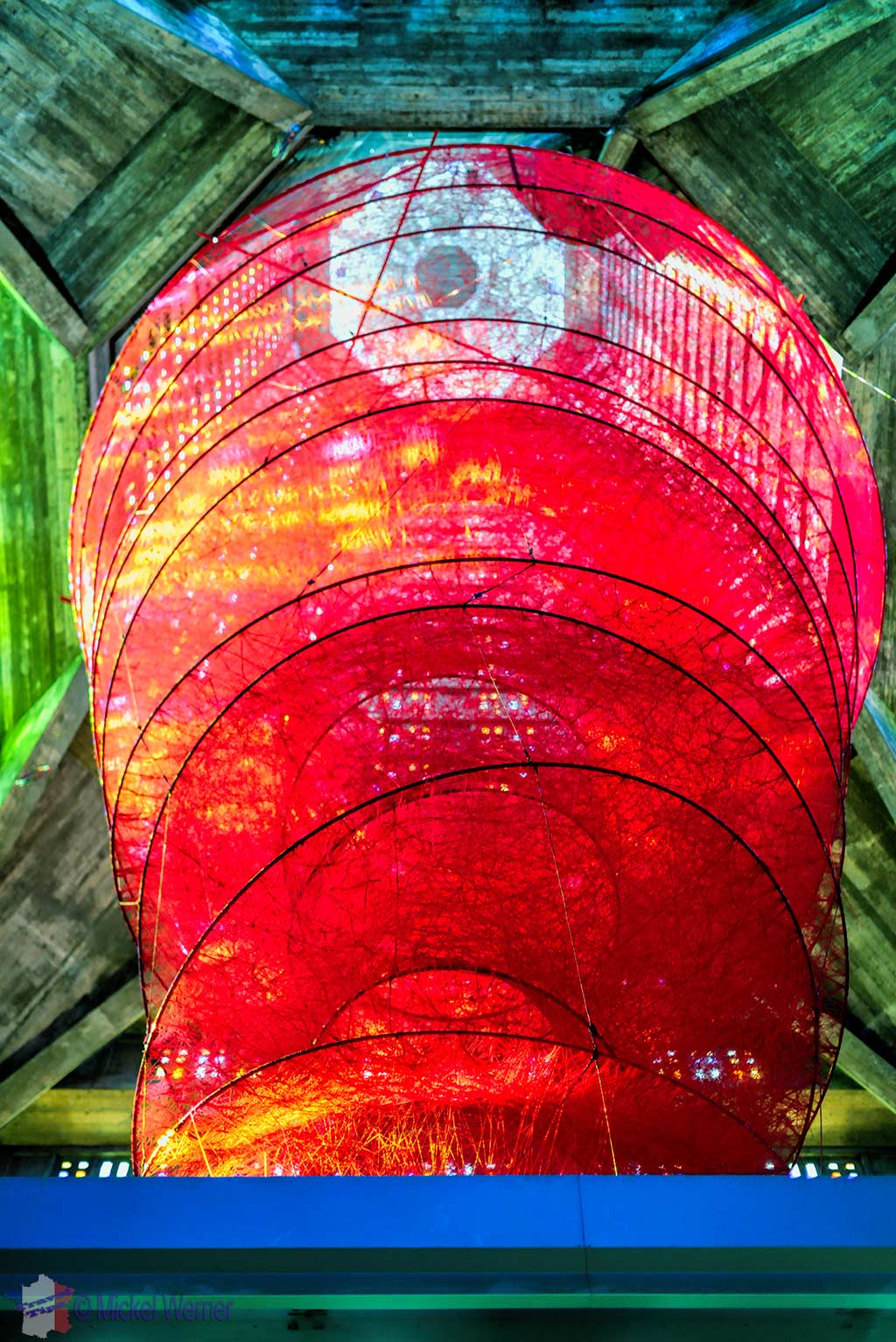 The red twine sculpture in the Saint Joseph church, celebrating the 500 Years of Le Havre