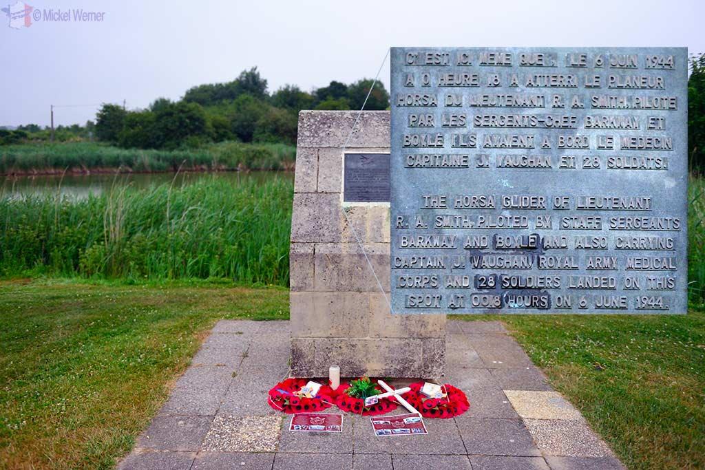 Memorial showing where the Horsa glider landed next to Pegasus bridge